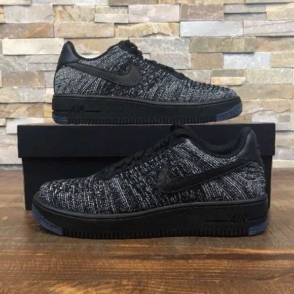 New NIKE AIR FORCE 1 AF1 FLYKNIT LOW SNEAKERS 820256 007 Oreo Retail 0
